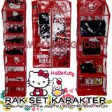 Toko Rak Gantung Karakter Set 3 In 1 Organizer Resleting Tas Sepatu Jilbab Hello Kitty Merah Cantik Serasi Lengkap