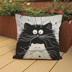 Oscar Toko Praktis Berkualitas Tinggi Hot Jual Kucing Hitam Katun Linen Bantal Sofa Pinggang Bantal Kursi Penutup Dekorasi Rumah- INTL