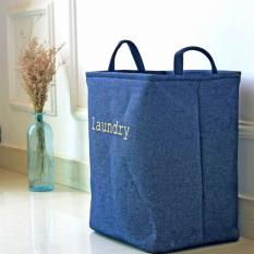Mimosifolia Kolam taman piknik keranjang penyimpanan lipat sampah kamar mandi dengan batu arsip kotak penyimpanan untuk pakaian rak keranjang Laundry keranjang kotak mainan Denim biru