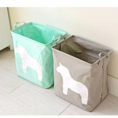 Mimosifolia Kolam taman piknik keranjang penyimpanan lipat sampah kamar mandi dengan batu arsip kotak penyimpanan untuk pakaian rak keranjang Laundry keranjang kotak mainan kuda abu-abu 1 buah - International