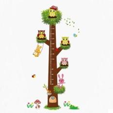 Owls Flower Tree Kids A Doubt Creative Height Annotation WallSticker - intl