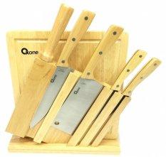 Graha FE Set Pisau Dapur Stainless Steel + Talenan Kayu + Rak Pisau Kayu - Wooden Knife Set Oxone OX-95