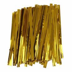Pack 100 Emas Kawat Besi Pengikat Ikat Putar Tas Permen Lolipop Kue