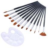 Harga Paint Brush Set Round Pointed Tip Rambut Nilon Artis Acrylic Brusher Watercolor Lukisan Minyak Hitam 12 Pcs Paling Murah