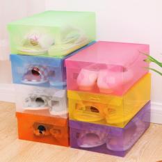 Ulasan Tentang Paket 10 Buah Kotak Sepatu Transparan Warna Warni Multicolour Transparent Shoe Box