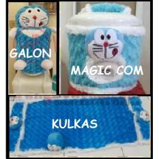 PAKET Hemat Home Set 3 In 1 GKM ( Sarung Galon, Sarung Kulkas,Sarung Mejikom / Magic com / Rice cooker ) DORAEMON Biru Berkualitas,..