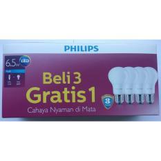 Paket Lampu LED Philips 6,5w 6,5watt Promo Beli 3 Gratis 1 (Pengganti 7w)