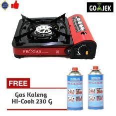 Paket Progas Kompor Portable / Camping + 2 Gas Kaleng Hi-Cook 230  - Mynjby