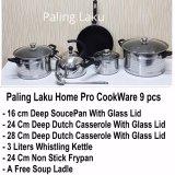 Spesifikasi Paling Laku Home Pro Cookware Panci Set Stainless Kettle Fry Pan Non Stick 9 Pcs Bagus