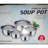 Harga Panci Set Soup Pot 5 Pcs Gagang Stainless Murah