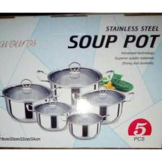 Toko Panci Set Soup Pot 5 Pcs Gagang Stainless Dekat Sini