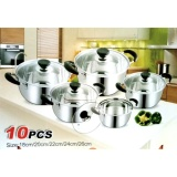 Toko Panci Set Stainless Steel Tutup Kaca 10Pcs Leoshop888 Indonesia