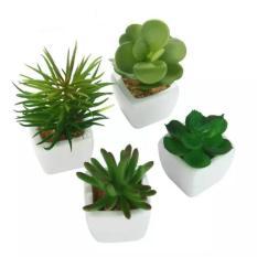 Panda Online Set dari 4 Moderen Keramik Putih Mini Pot Buatan Succulent Tanaman