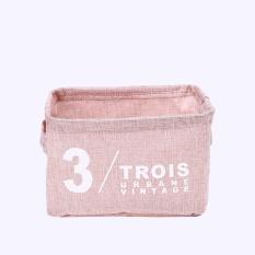 Panda Online Zakka Cotton Linen Washing Laundry Hamper Storage Basket Organizer Sorter Bag(Pink) - intl