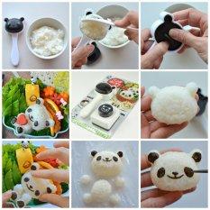 Panda Set Rice Mold Cetakan Pencetak Cetak Gagang Nasi Rice Sushi Bento Set Tools Nori Seaweed Cutter Puncher 2 Piece Set White Black Jawa Timur
