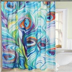 Peacock Feather Waterproof Polyester Fabric Shower Tirai Kamar Mandi Dekorasi Rumah-Internasional