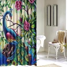 Merak Bunga Kamar Mandi Shower Tirai Fabric Waterproof 60x72 Inch + 12 Kait-Internasional