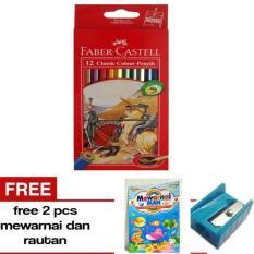 Pensil Warna Faber Castell Classic 12 Warna Free Rautan dan Buku Mewarnai -- A J S