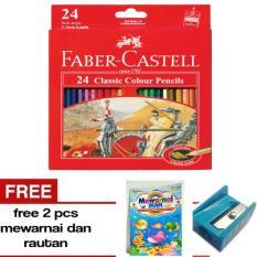 Pensil Warna Faber Castell Classic 24  Warna Free Rautan dan Buku Mewarnai -- A J S