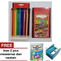 Pensil Warna JOYKO 12  Warna Bisa Dihapus Layak nya pensil - Free Rautan dan Buku Mewarnai -- A J S