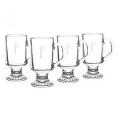Dipersonalisasi Irish Glass Mug Kopi, Set dari 4, Huruf F-Intl