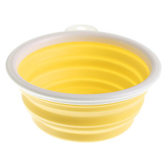 Iklan Pet Dog Cat Kaki Bisa Dilipat Folding Bowl Feeder Dish Kuning