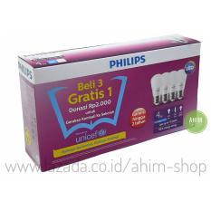 Harga Hemat Philips Lampu Led Bulb 4W 40W Paket Beli 3 Gratis 1 Cool Daylight Putih
