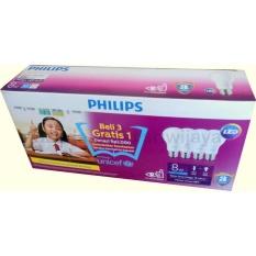 PHILIPS LED Bulb 8W Multipack UNICEF Paket Beli 3 Gratis 1 - Putih