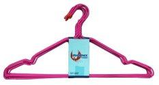 Phoenix Hanger/ Gantungan Baju Kawat Coating Plastik - 10 Pcs - Merah-muda