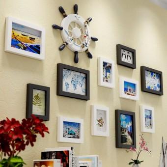 Harga preferensial Foto Dinding Mediterania Dekorasi Liontin Tata Letak Ruangan Dinding Dinding Laut Gaya Bingkai Foto Gantungan Kombinasi ...