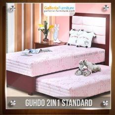 Bed Sorong 2 in 1 Standar sandaran Metropolis 100x200 cm (Lengkap Lengkap Kasur atas, Sorong bawah & Sandaran Guhdo) [Pink]