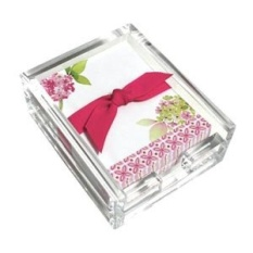 Pink Hydrangea Acrylic Desk Note Set, Memo Sheets and Acrylic Holder, 150 Note Papers, 3.25 x 4.25