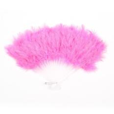 Pink Lembut Bulu Plastik Menari Kipas Tangan Lipat dengan Gantungan Logam
