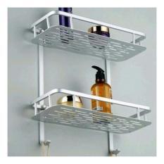 Pitaldo Rak Aluminium 2 tingkat Anti Karat untuk kamar mandi Wastafel Dapur