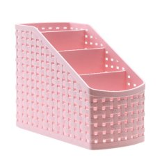 Harga Plastic Storage Box Desktop 4 Grid Sub Grid Storage Case Multi Function Storage Organizer For Remote Controller Cosmetic Holder Pink Seken