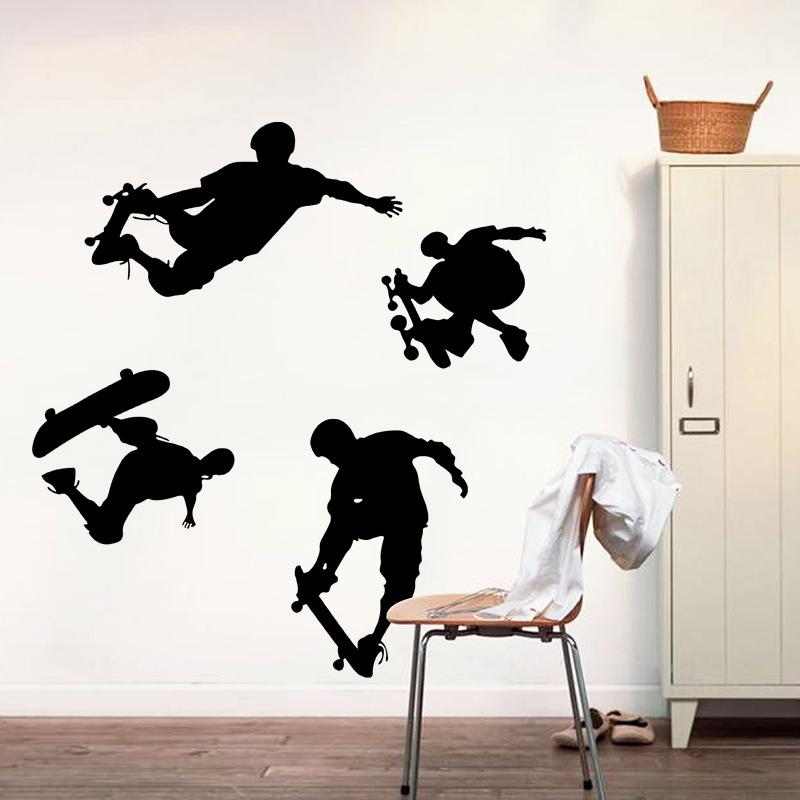 Bermain Skateboards Olahraga Wall Decal Home Sticker PVC Mural Vinyl Kertas Rumah Dekorasi WallPaper Ruang Tamu Kamar Tidur Kitchen Art Picture DIY untuk Anak-anak Remaja Remaja Dewasa Anak-Intl
