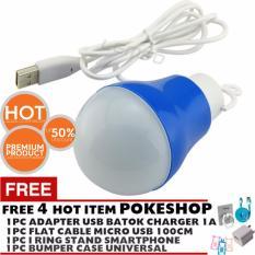 Pokeshop USB Bohlam/Lampu LED USB - 5W + Kabel 1 Meter Promosi beli1 gratis 1 - Multicolor