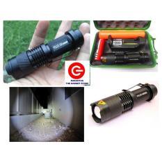 Police Senter Swat Mini - Flash White Torch Light - Zoom Tarik Mundur - Flashlight Led Sinar Cahaya Putih - Hitam
