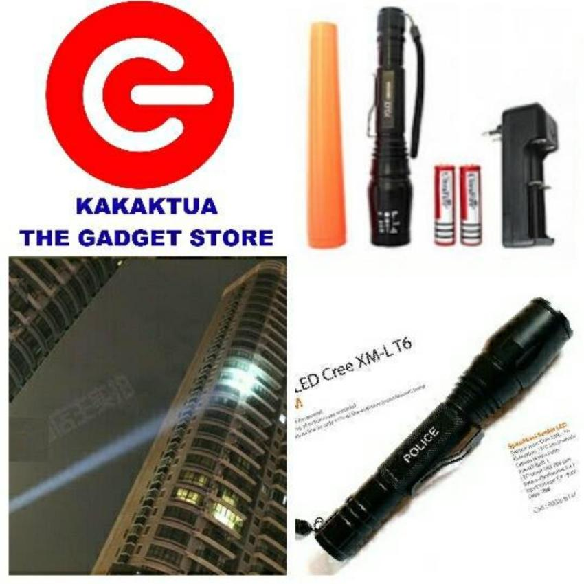 Toko Police Swat Senter T6 Sinar Cahaya Led Putih Flashlight 2 Battery T6 Flash White Torch Light Zoom Tarik Mundur Hitam Dekat Sini