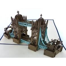 PopLife London Tower Bridge 3D Pop Up Kartu Ucapan untuk Semua Kesempatan-UK Traveler, Arsitektur dan Pecinta Sejarah-Folds Flat-Ulang Tahun, Hari Ibu, Wisuda, Pensiun, Ulang Tahun-Intl