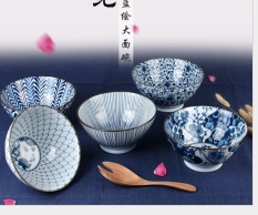 Porcelain Tableware Blaze Of Color Blue Painted Mangkuk Sup Ramen Bowl Permukaan Khusus Bola-Internasional