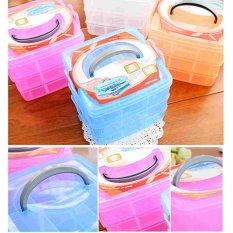 Portable 3 Layer Nail Care Art Tips Gems Make Up Perhiasan Pill Penyimpanan Kotak Case-Intl