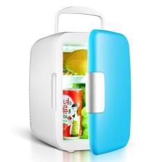 Portable 4 L/6 Pcs 12-oz. Kaleng 25 DB Menjalankan Suara Penggunaan Mobil Mini Kulkas Cooler dan Warmer dengan 1.9 M Kabel Daya Warna: Biru-Intl