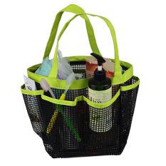 Spesifikasi Portable 8 Kantong Penyimpanan Shower Caddy Mesh Cepat Kering Perjalanan Tote Tas Carry Handle Bag Kamar Mandi Pasta Gigi Sikat Pembersih Wajah Penyimpanan Online