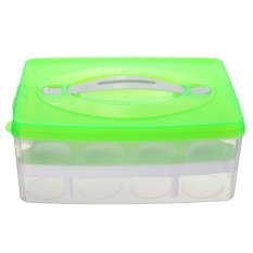 Portable Double Layer Kulkas Telur Box Case 24 Grid Pemegang Penyimpanan Kontainer-Internasional
