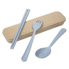Powercreat Berkualitas Tinggi Portable Jerami Gandum Sendok Garpu Sumpit Cutlery Camping Travel Tableware Set, Degradable-Intl
