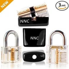 Practice Lock Set with Transparent Cutaway Crystal Pin Tumbler Keyed Padlocks for Locksmiths Clear Visible See Through Practice Lock Pick Tools for Training Beginner and Advanced Locksmiths by NNC - intl