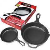 Harga Pre Seasoned Cast Iron Skillet 2 Piece Set 12 5 Inch 8 Inch Panci Best Heavy Duty Restoran Profesional Chef Quality Pre Berpengalaman Pan Cookware Set Bagus Untuk Menggoreng Tumis Memasak Pizza Lebih Intl Fullset Murah