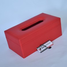 PREMIUM QUALITY TISSUE BOX Tempat Tisu Kulit Oscar Mobil Rumah Kantor - Merah