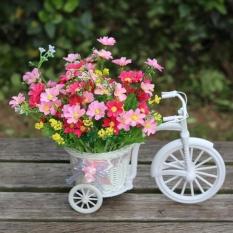 Cukup Kecil Ukuran Bunga Keranjang Vas Handmade Keranjang Rotan Sepeda Roda Tiga Bicycle Home Decor Garden Dekorasi Partai Pernikahan, Acak Silk Ribbon Warna Pengiriman-Intl